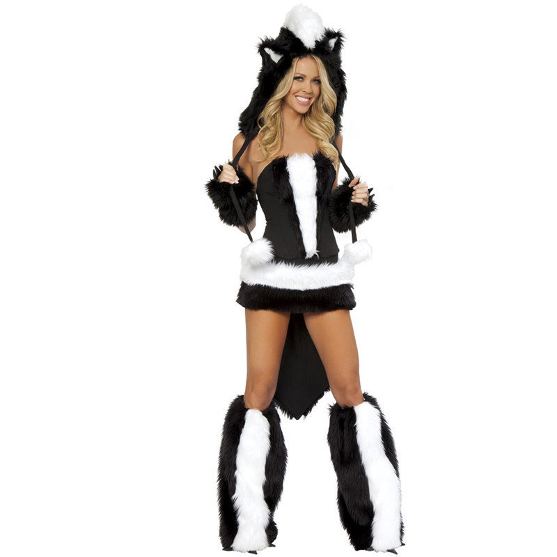 Factory Direct Sale Sexy Adult Flower Skunk Costume For Women Animal Fancy Dress For Parties