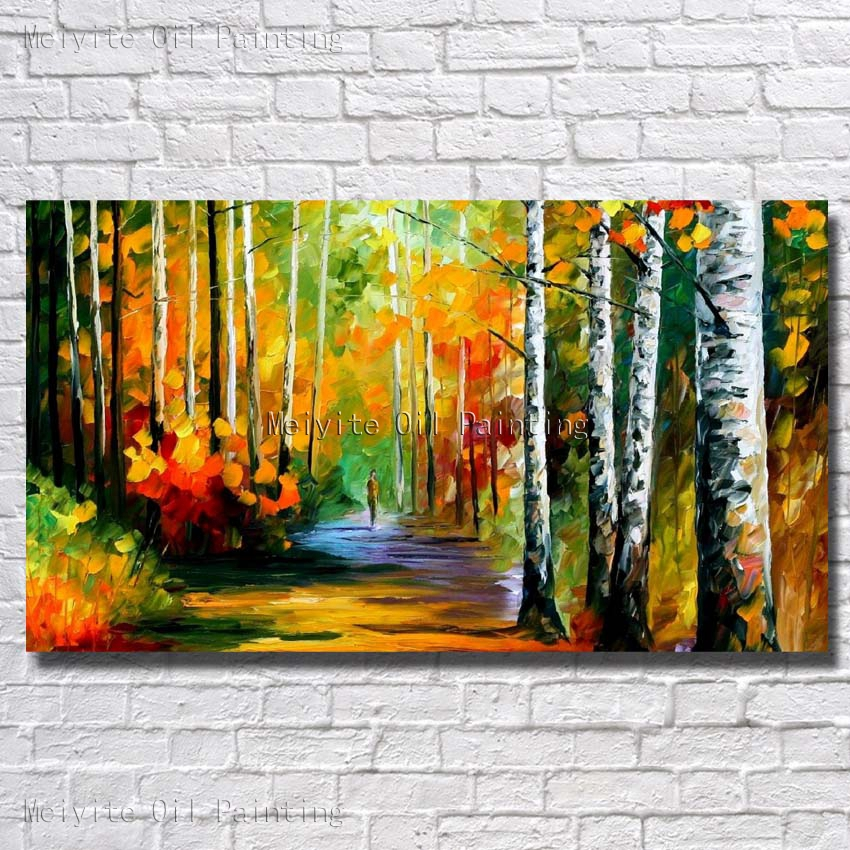 100 hand painted forest landscape oil painting beautiful - Landscape paintings for living room ...