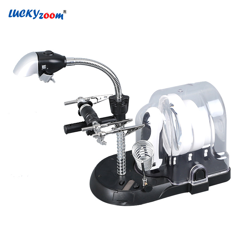 Handheld and Desktop 2.5X 5X 6X Magnifying Glasses Magnifier Lamp LED Illuminated Lamp Magnifier Third Hand For Soldering Loupe 220v 10x desk clip on led illuminated green optical big magnifying glass led lamp folding stand large magnifier with led lights