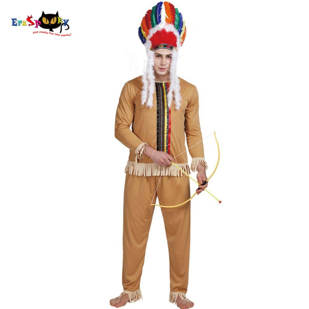 Carnival Indian Tribe Man Primitive Native American Costume Adult Party Male Cosplay Fancy Dress Outfits Halloween Costumes