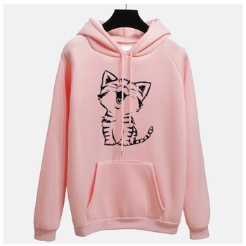 цена на Cute Pink Cat Kawaii Hoodie Women Sweatshirt Yellow Poleron Mujer 2019 Kangaroo Pocket Hoodie Grey Tracksuit Pullover Cat Hoodie
