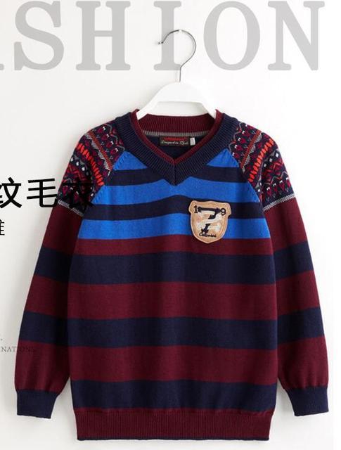 Новый Ребенок v-образным вырезом Хлопок вязаный свитер мальчики подбора Цвета Вязание жаккардовые полосы Свитера Бренд одежда оптом