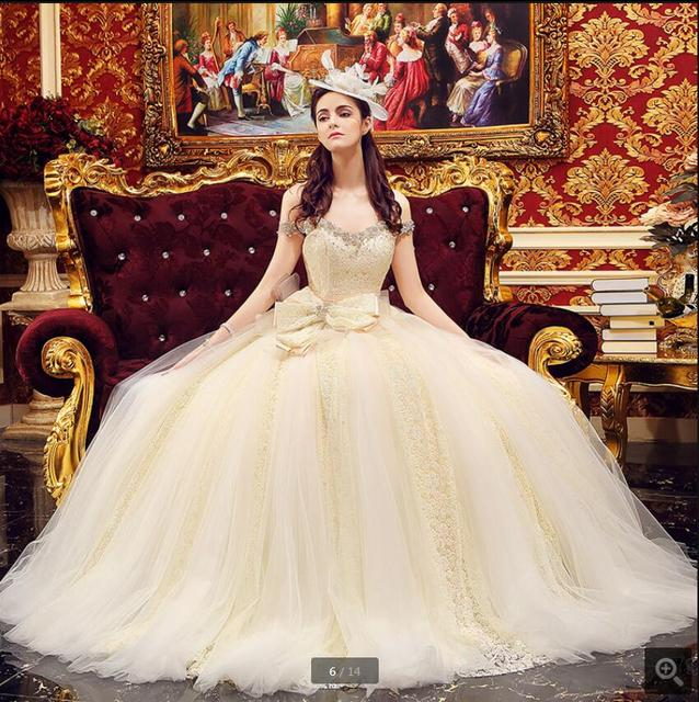 New Design 2017 Ball Gown Off The Shoulder Puffy Sexy Wedding Dress Lace  Sheer Back Corset
