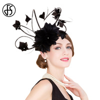 FS British Ladies Black Wedding Fascinators And Hats For Women Elegant Church Party Cocktail Hat Kentucky Derby Hat Floral Hats