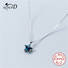 Romad Cute 925 Silver Shiny Star Pedant Necklaces with Cubic Zirconia Sterling Necklace Jewelry