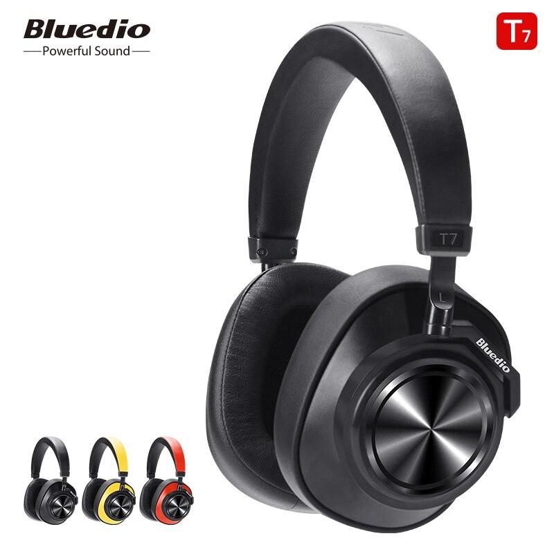 Bluedio t7 bluetooth fones de ouvido com cancelamento de ruído ativo definido pelo usuário fone de ouvido sem fio para telefones e música com reconhecimento facial