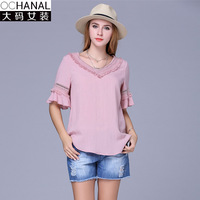 5XL Plus Size Tassel T Shirt Women Chiffon Short Sleeve T Shirt Cotton New V Lotus