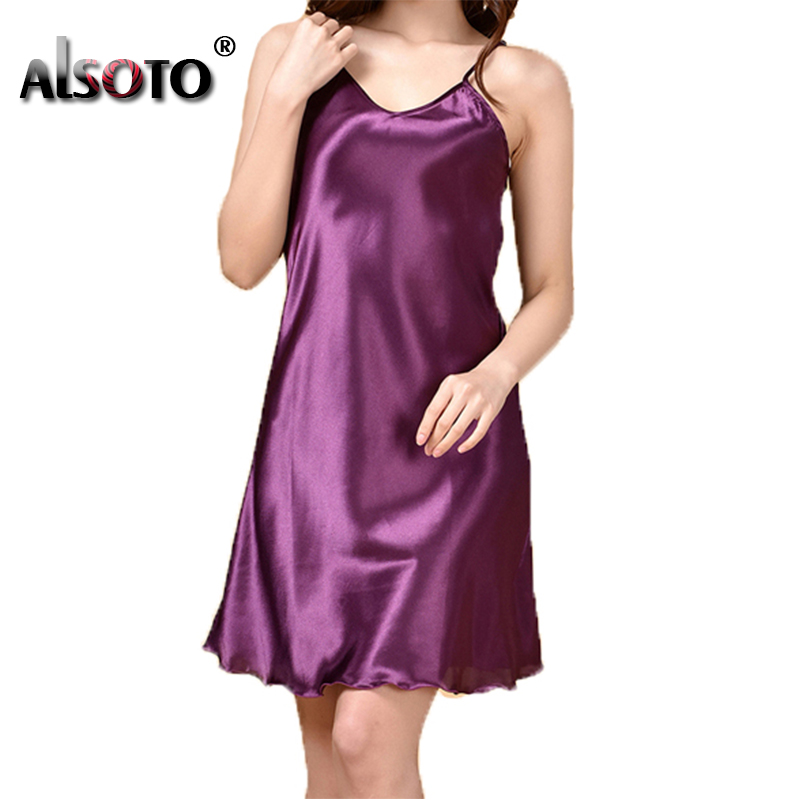 Ladies Sexy Silk Satin Night Dress Sleeveless Nighties V-neck Nightwear For Women Nightgown Plus Size Nightdress Sleepwear 3