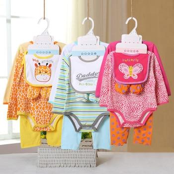 5 Pcs/set Baby Girl Clothes Bebe Bodysuit+Pant+Bib+Shoes 100% Cotton Baby Boy Clothes Newborn Bebe Clothing Sets CL022691083