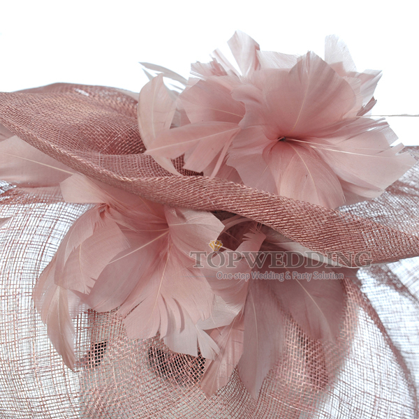 New Free Shipping Sinamay Gray Pink Bridal Fascinator Hat Kentucky Derby Wedding Races Party Church Hats Feather Headpiece In Hair Accessories From Women S