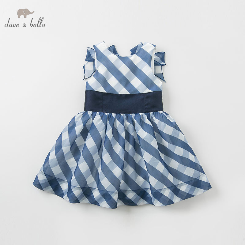 DBK10586 dave bella baby Plaid Dress girls sleeveless summer dresses kids girls dress children birthday party