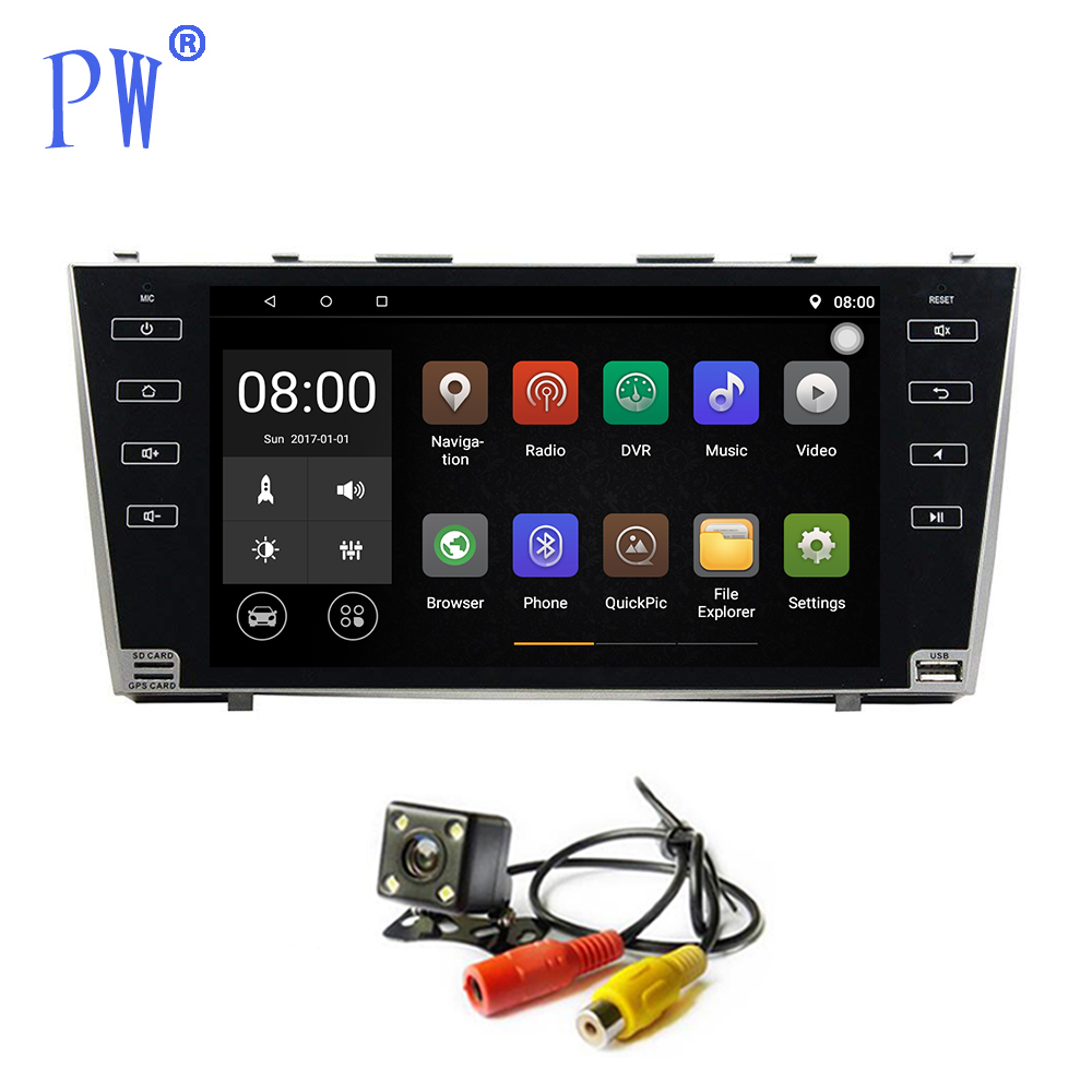 Android 7.1/8.0 autoradio GPS Navigation pour Toyota Camry 2008-2010 unité principale stéréo commande au volant Bluetooth WIFI Navi