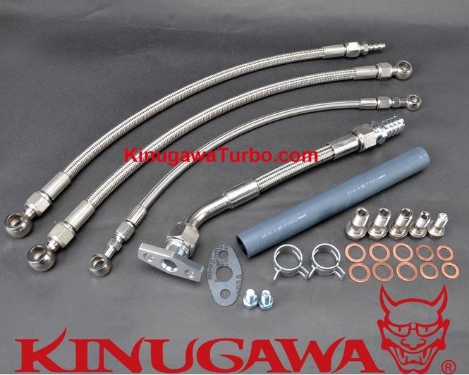Kinugawa Turbo Oil & Water Line Kit for Nissan RB25DET RB30 w/ for Garrett GT3076R GT3582R GT3540 kinugawa turbo oil