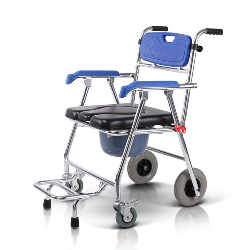 Commode Mobile Chair Toilet Chair Seat Wheelchair Shower Transport Chair with 4 brakes For Bathroom Toilet Stool Elderly