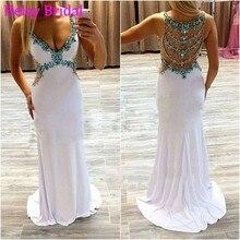 Vestidos De Gala Grün Diamant Perlen Sexy Lange Abendkleid Formale Weiß Strass Durchsichtig Abendkleid Ballkleider 2016