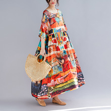 Summer Vintage Loose Maxi Casual Dress Long Large Print Dress Half Sleeves O-Neck Orange Cotton Linen Plus Size Floral Dress black random floral print half flared sleeves mini dress