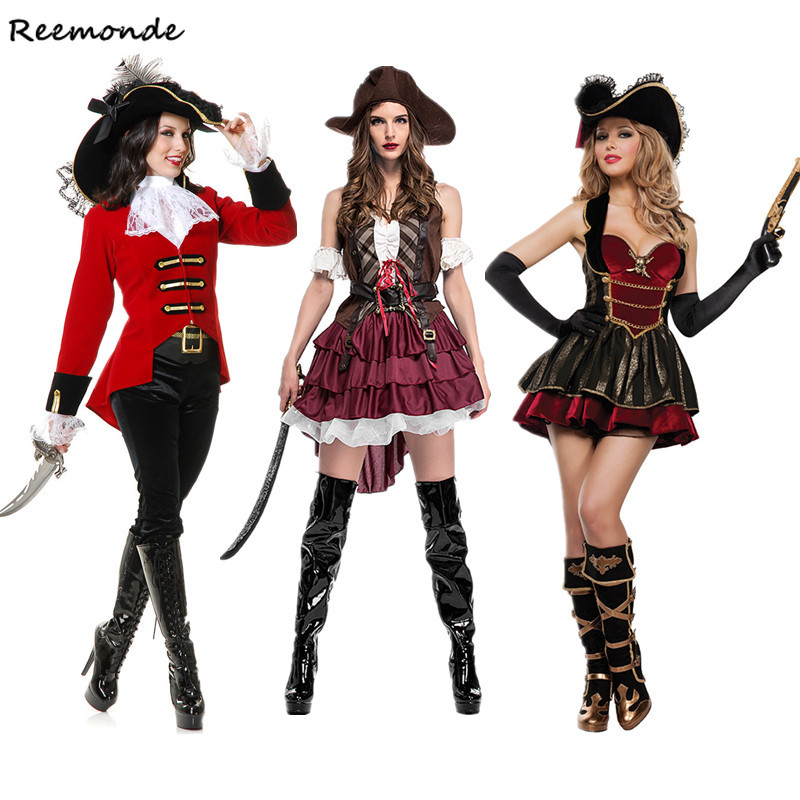Halloween Adult Pirate Of The Caribbean Cosplay Costumes Somali Pirate Dresses Hat For Women Girls Full Set Fancy Party Clothing