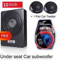 10 pouces 900 w voiture sous siège fort caisson de basses mince Auto Super basse voiture haut-parleur Woofer actif intégré 150 W amplificateur haut-parleur