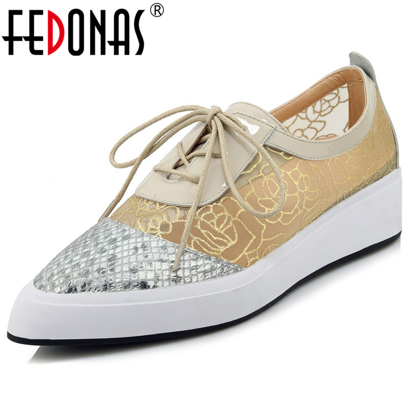 FEDONAS New 2019 Spring Women Point Toe Genuine Leather Casual Shoes Woman Lace Up Flats Platforms