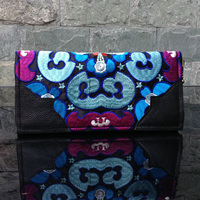Yunnan National Style Women Zipper Evening Bag Clutch Wallet Handmade Vintage Embroidered Long Purse Day Clutches