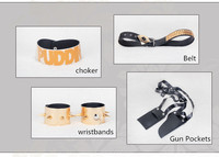 Harley Quinn Suicide Squad Cosplay Movie Halloween Batman Joker Accessories Set Choker Belt Wrist Bands Gun