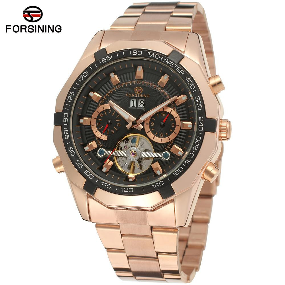 New Fashion Luxury Brand FORSINING Rose Gold Men Watch Automatic Mechanical Watches Hollow Men Tourbillon Mechanical Watch Gift forsining tourbillon designer month day date display men watch luxury brand automatic men big face watches gold watch men clock