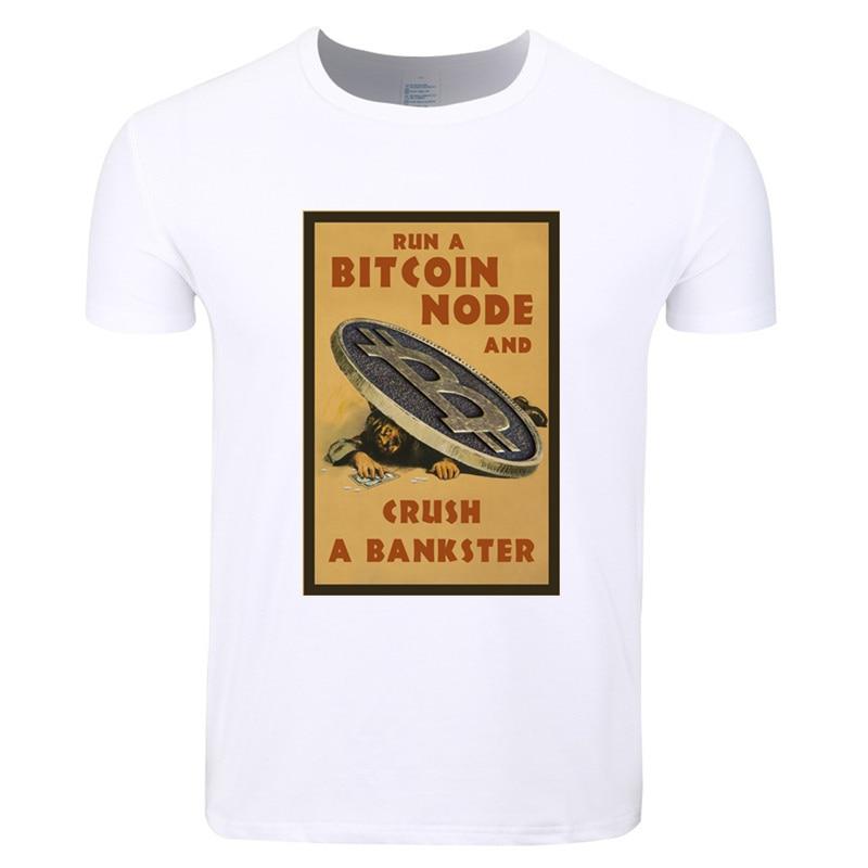 Asian Size Men Print Digital Currency Bitcoin Logo Funny T-shirt O-Neck Short Sleeves Summer Casual Fashion T-shirt HCP4203