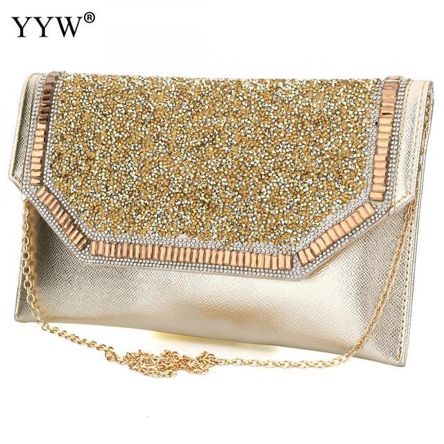 Brand Fashion Female Evening Party Bag Gold Women Handbags Silver Envelope Black Hasp Shoulder Crossbody
