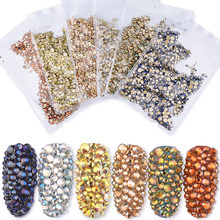 1/Pack Gold Flatback AB Glass Nail Rhinestones Mixed Sizes Nail Art Decoration Stones Shiny Gems Manicure Accessories 073(China)