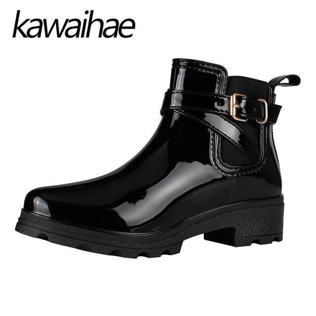 Заостренный носок женские сапоги на резиновой подошве женские водонепроницаемые резиновые сапоги Kawaihae бренд Martins