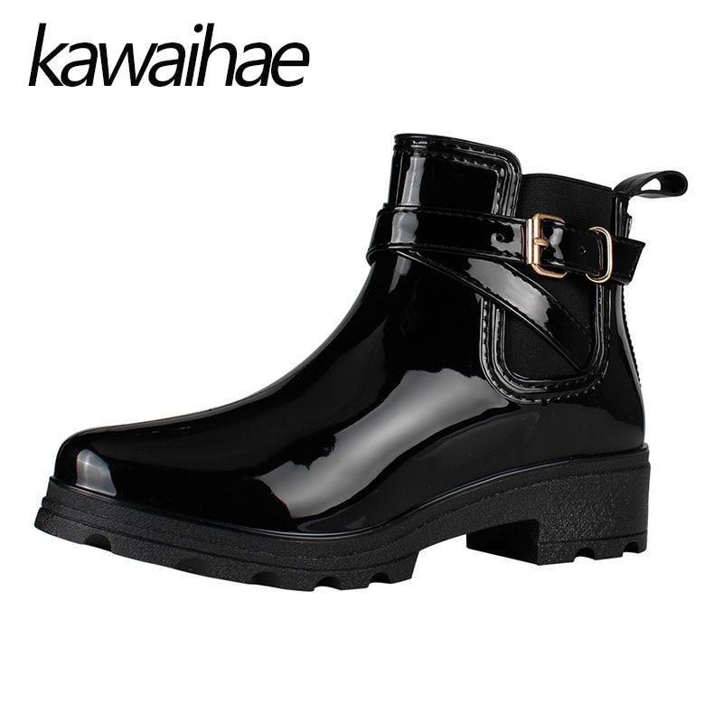 De Punta estrecha Mujeres Botas Zapatos De Goma Rainboots Impermeables Femeninos