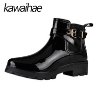 Pointed Toe Women Boots Rubber Shoes Female Waterproof Rainboots Kawaihae Brand Martins