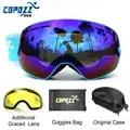COPOZZ брендовые лыжные очки 2 двойные линзы UV400 противотуманные сферические лыжные очки для катания на лыжах мужские и женские снежные очки ...