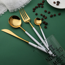 Hot Sale 4 pieces Mirror light Portuguese white and gold Dinnerware 304 Stainless Steel Cutlery Kitchen & Buy white gold dinnerware and get free shipping on AliExpress.com