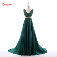 100 Real Long Evening Gowns Abendkleider Formal Dress Illusion Beaded Satin Long Emerald Green Evening Dress