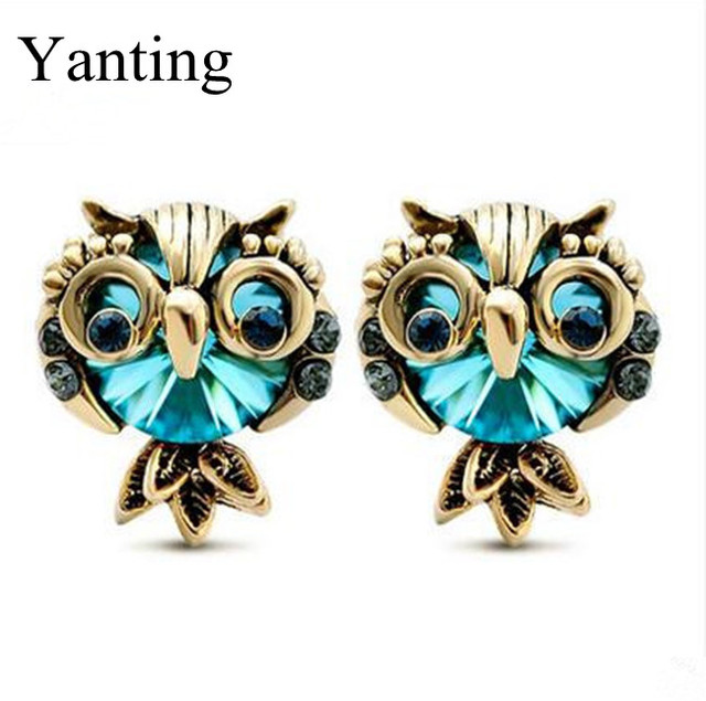 New Arrival Fashion Vintage Crystal Owl Earrings For Women 2017 Stud Earring Jewelry Cool Para Gifts