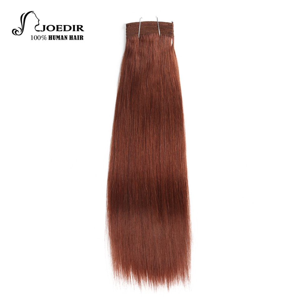 Joedir Hair Pre-Colored Brazilian Remy Human Hair Weave Yaki Straight #33 Rich Copper Red #P6-27 Piano Color Medium Brown Bundle