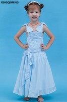 Boog Bloem Meisje Jurken Lichtblauw Chiffon Eerste Heilige Communie Jurken Goedkope Eenvoudige Little Dames Gown Pageant Jurken voor Meisje