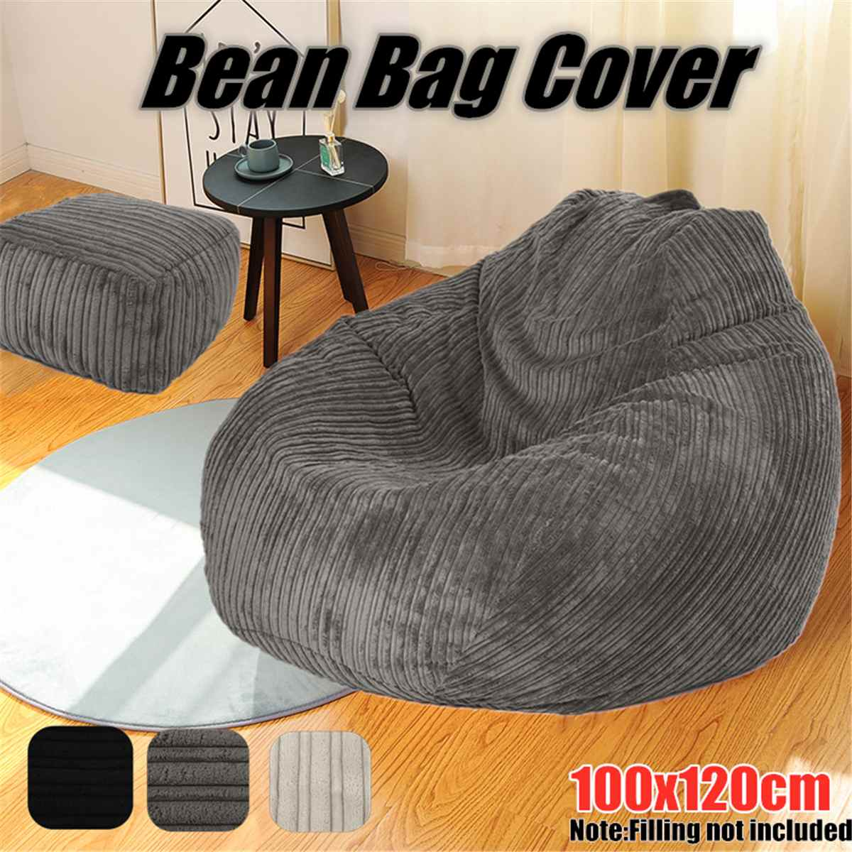 Large Lazy BeanBag Sofas Cover Chairs without Filler  Corduroy Lounger Seat Bean Bag Pouf Puff Couch Tatami Living Room Grey car seat