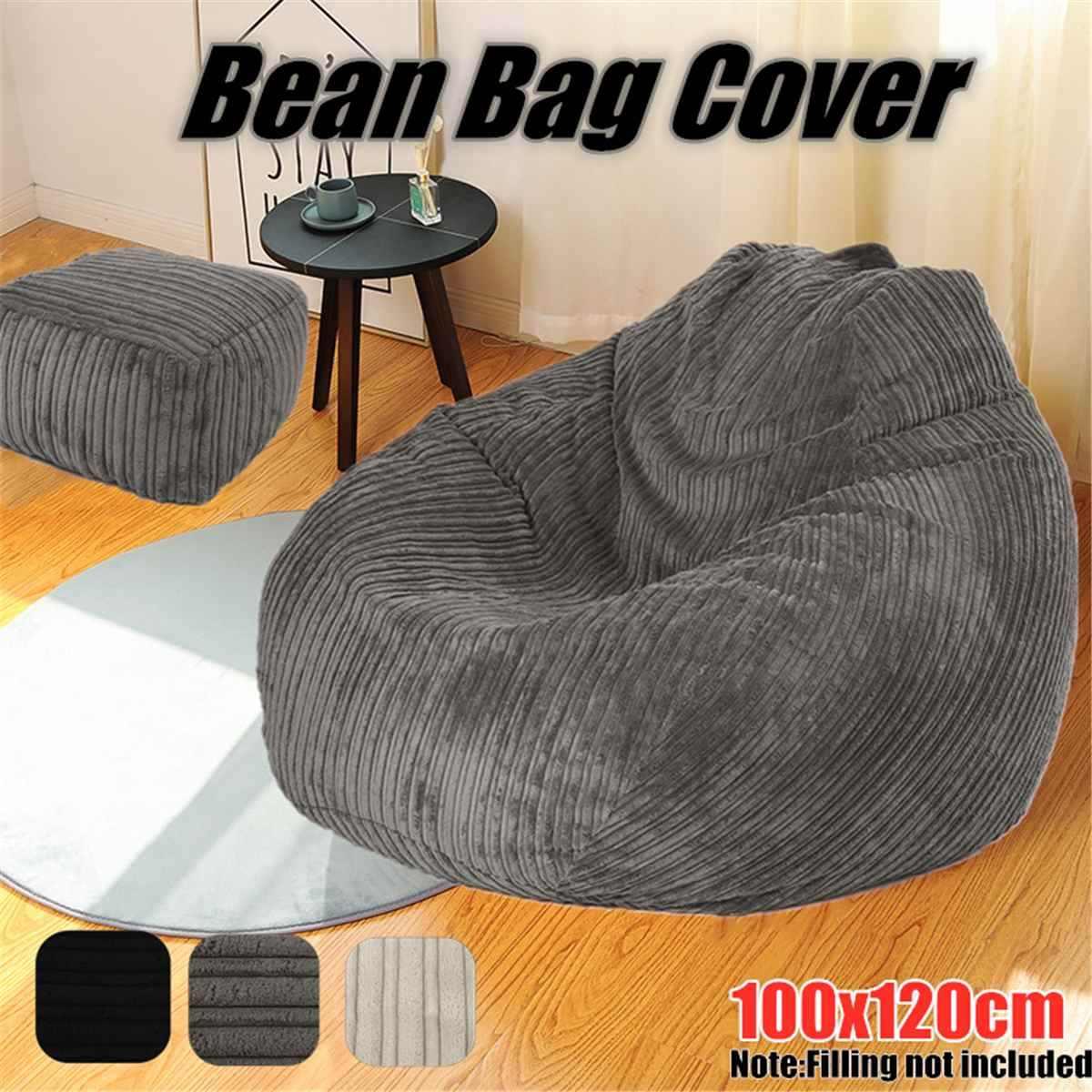 Grote Luie Zitzak Banken Cover Stoelen zonder Vulmiddel Corduroy Lounger Seat Zitzak Poef Bladerdeeg Couch Tatami Woonkamer Grey