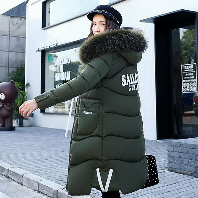 2017 New Fashion Winter Jacket Women Large  Natural Raccoon Fur Collar Thick Warm Loose Coat Outwear Parkas M-3XL new fashion winter jacket women 2017 large real natural raccoon fur collar hooded jacket thick coat for women outwear down parka