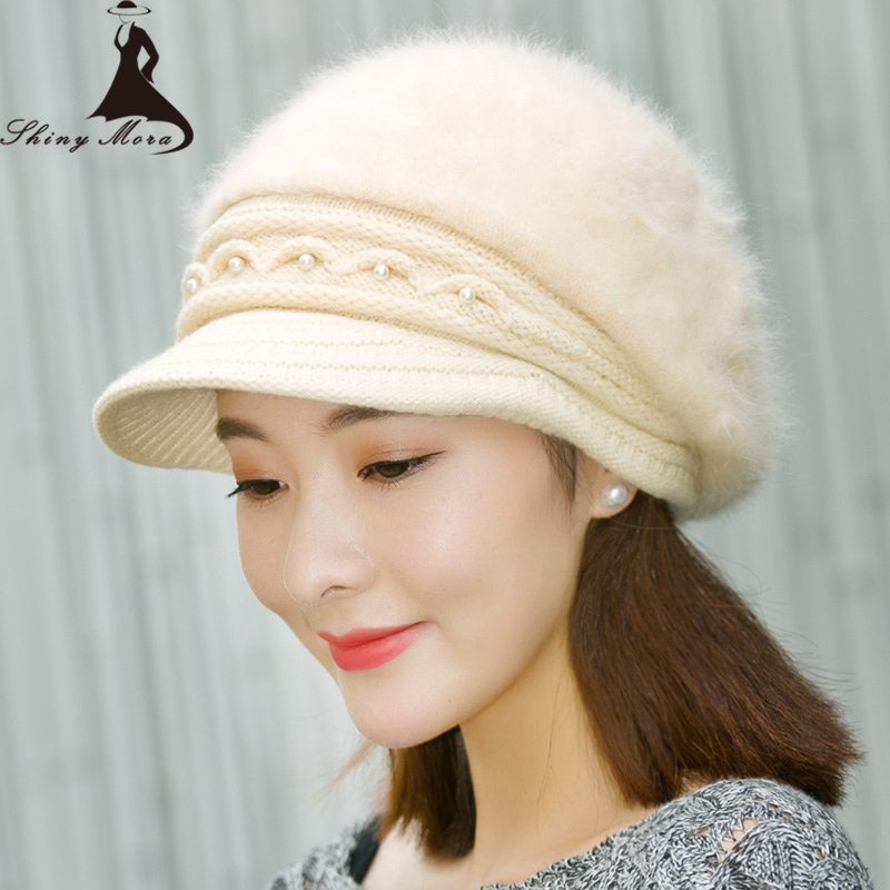 2017 Women Winter Knitted Hats Elegant Rabbit Fur Thickening Cap for Ladies Female Fashion Skullies Warm Hat 7 Colors Girl Hat skullies female rabbit ear hat hat women s hair cap fashion cap winter cap fpc012
