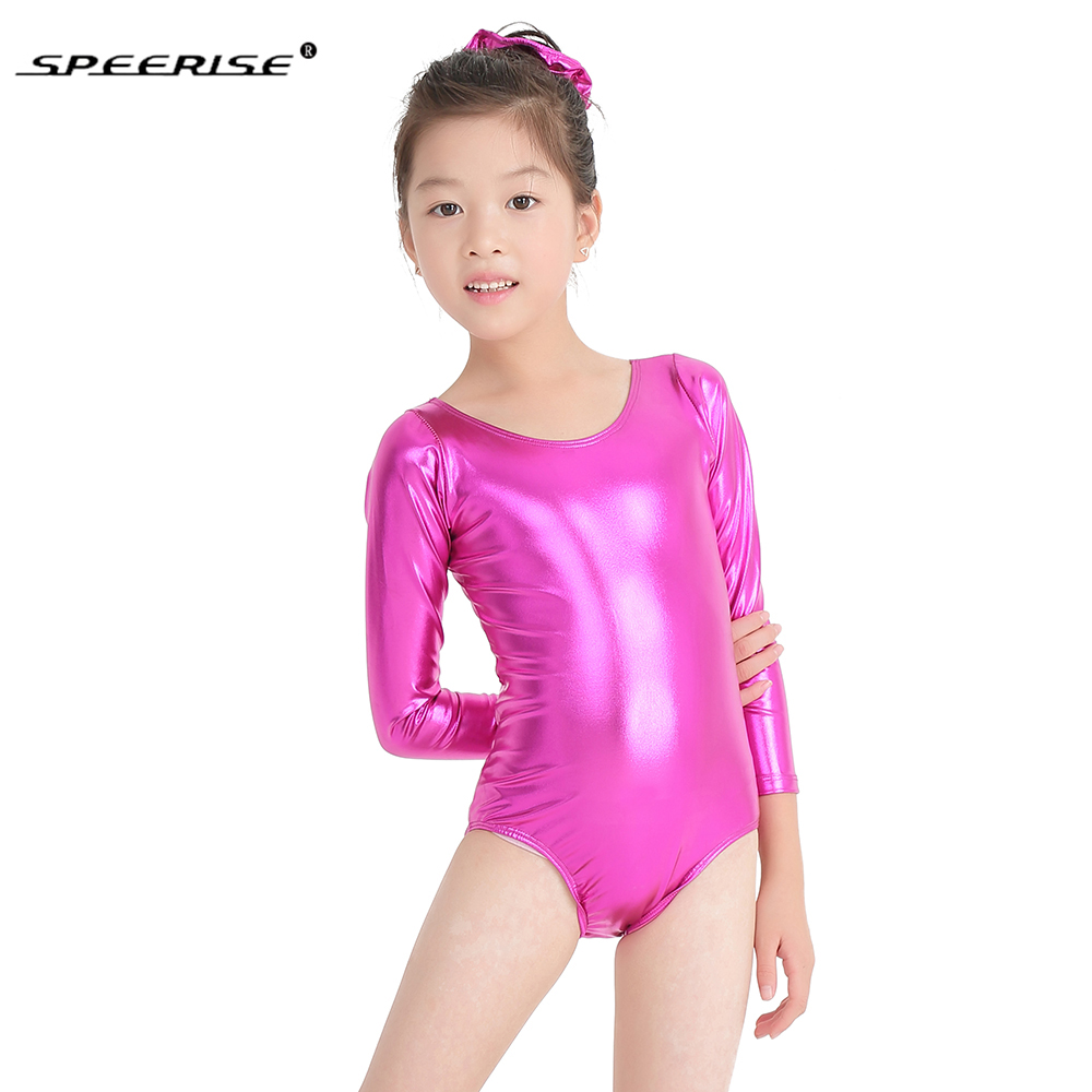 Hotsale Ballet Skate Leotards For Girls Metallic Gymnastics Rombers Long Sleeve Gold Leotard Spandex Costume Kids Dance Wear(China)