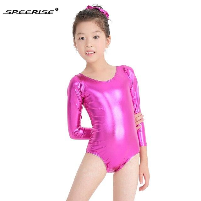 SPEERISE Ballet Dance Leotards for girls Shiny Metallic Gymnastics Rombers Long Sleeve Gold Leotard Kids Wear Spandex Costume