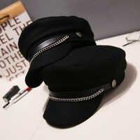 Automne hiver chaîne laine bérets militaires pour femmes femme plat armée casquette Salior chapeau noir fille dames voyage bérets peintres casquette