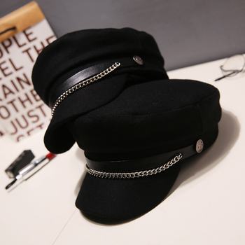 Autumn Winter Chain Wool Berets Military cap for Women Flat Army Cap Salior Hat Black Ladies Travel Berets Painters Cap