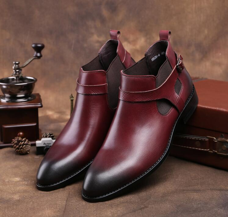 Genuine leather roman boots mens shoes formal business smart casual high top shoes buckle strap elastic band cut-out ankle bootGenuine leather roman boots mens shoes formal business smart casual high top shoes buckle strap elastic band cut-out ankle boot