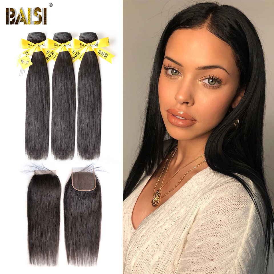 BAISI Hair Peruvian Virgin Hair Straight Hair Weave 3 Bundles with Closure 100 Human Hair Extensions