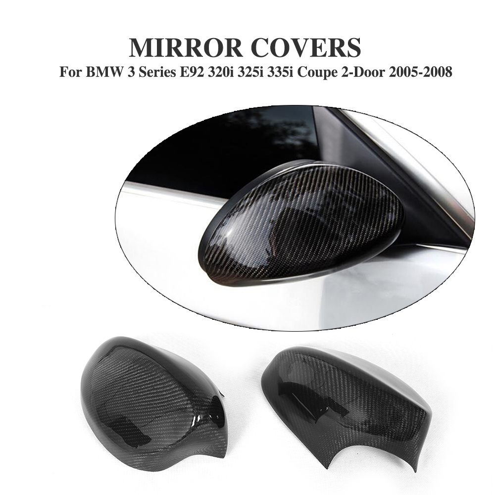 Carbon Fiber Add on style Side Wings Mirror Covers  Fit For BMW E92 328i 335i 2005-2008 Rearview Mirror Caps Car Styling