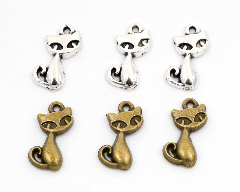 15pcs Encantos gato raposa 17x9 milímetros Antigo Fazendo pendant fit, Tibetano de Bronze de Prata Do Vintage, DIY pulseira colar